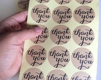 kraft thank you sticker - set of 15 - calligraphy thank you label - wedding thank you favor sticker - wedding favors - kraft envelope seals