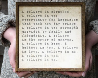I Believe in Miracles, I Believe in Us, Wood Sign, Inspirational Gifts, Anniversary Gift, Wedding Gift, Wife Gift, Sister Gift
