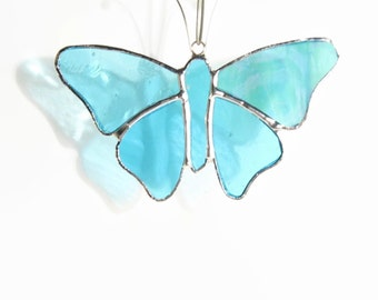 Butterfly Suncatcher in Sky Blue Stained Glass