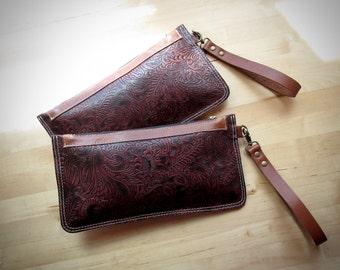 Leather wristlet clutch, iphone wallet case, pouch, embossed leather clutch, leather clutch bag, clutch purse Vintage Cherry Brown