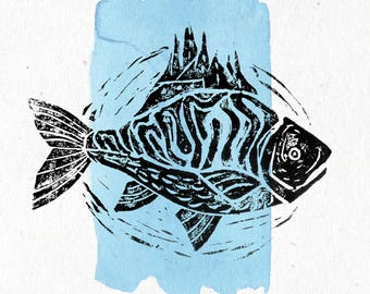 A fisherman's wall   Linocut print