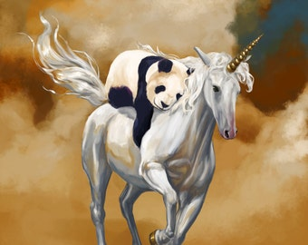Panda and Unicorn art print // pigment print, archival, 8x10 //  panda unicorn // Kids' Room Decor, geeky gift, cute gift, fantasy art
