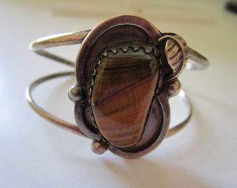 Sterling Silver Tiger Eye Cuff Bracelet