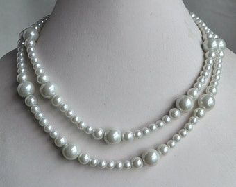 white pearl necklace,2-rows pearl necklaces,wedding necklace,bridesmaids necklace,glass pearls necklaces, pearl necklace,necklace,wedding