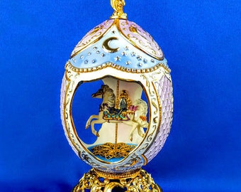 Franklin Mint  House of Faberge Carousel Horse Musical Egg