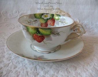 VintageFooted Tea Cup with Strawberries Made in Occupied Japan  Mid Century  TeaTime Gift  Victoria Downton Abbey Tea Cottage Shabby Chic