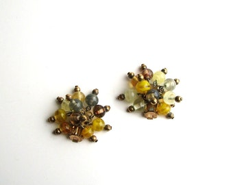 swirled glass dangle cluster clip on earrings . yellow glass earrings . vintage earrings