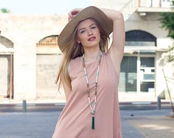 Blush maxi dress for women - Oversize blush maxi dress