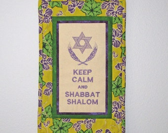 Keep Calm and Shabbat Shalom Embroidered Quilted Mini Judaic Jewish Wall Hanging Yellow