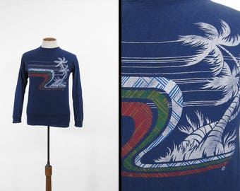 Vintage Ocean Pacific Shirt Surfer Blue Long Sleeve Cotton Made in USA - Medium