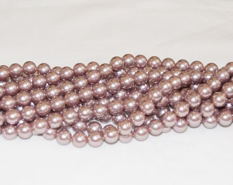 "Mauve Sea Shell Pearl 10mm Round AAA - 16"" Strand"