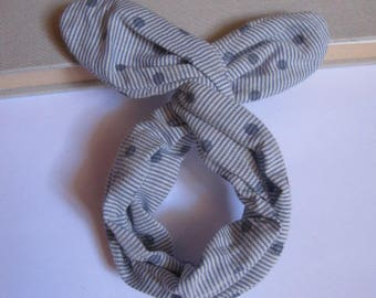 Bun stripe blue and white polka dot headband