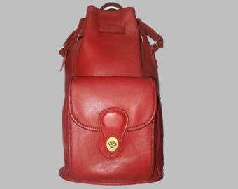 COACH Vintage Dark Red Leather Top Handle Drawstring Bucket Backpack # 9992.