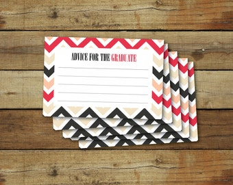 Graduation printable advice cards, instant download, pink and gray chevron
