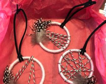 Set of 3 mini dream catcher ornaments, party favors, holiday decor