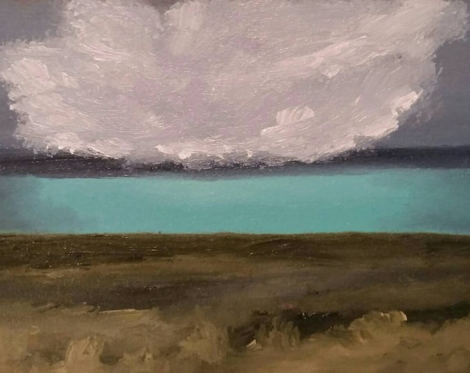 Featured listing image: Turquoise Storm - Oil On Carton Board