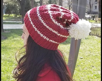 Hand-Knit Hat Acrylic and Wool in Red Color with a Tassel