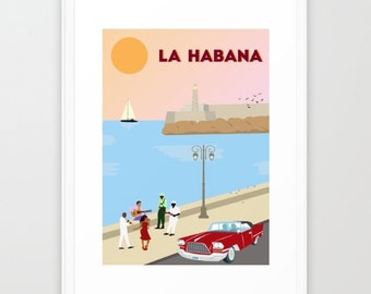 Havana art print-La Habana poster-Cuba wall art-Caribbean print-Musicians poster-Cuban Woman dancer-Tropical print-Large Beach illustration