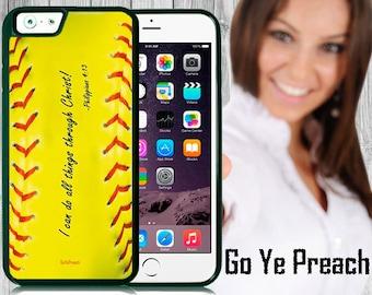 Philippians 4:13 Softball Phone Case, Bible Verse Scripture iPhone case 4/4s 5/5s 5c 6 & Samsung Galaxy case s3 s4 s5 Faith iPhone Cover