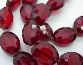 5 large bordeaux red crystal glass beads have faceted 16 x 13 x 7 mm