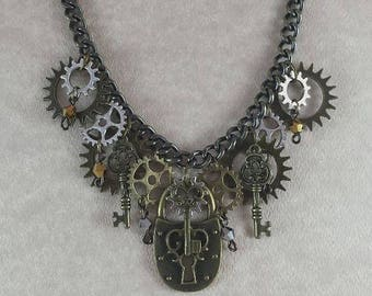 Steampunk Lock n' Key Charm Necklace