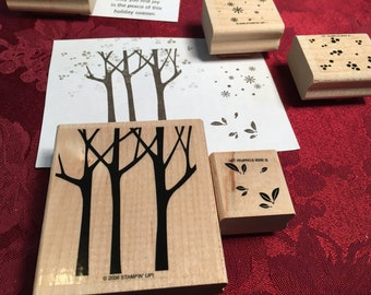 Tree set - rubber stamps - set of 7