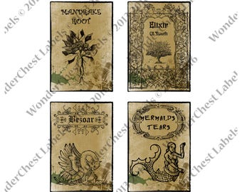 Fantasy Apothecary labels set 3.5 x 5  Halloween printables - medieval decor  - Party decoration - Magic - instant download