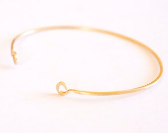 1.5 mm Square Cuff Bracelet with Circle Ends Thin Cuff Bracelet Brass Bangle Delicate Jewelry Stacking Bracelet Minimalist Thin Cuff 005