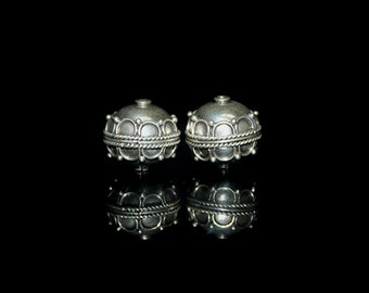 Two 13mm 925 Sterling Silver Beads, 5.9 grams. 13mm Sterling Silver Beads, Sterling Silver Beads, Sterling Silver Bali Beads