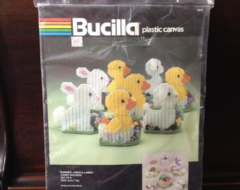 Vintage Easter Plastic Canvas Kit - Bunnies Chics Lambs - Bucilla Kits Crafting Sewing Craft Needlpoint Holiday Rabbit Bunny Peeps Table Art