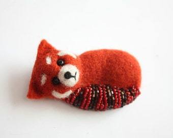 Little Red Panda Brooch, miniature needle felted, 3 inches