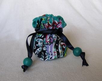 Fabric Jewelry Tote - Mini Size - Jewelry Bag - Pouch for Jewelry - WIND DANCER