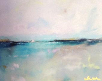 Turquoise Horizon Ocean 8 x 10 Giclee Print, Matted to 11 x 14