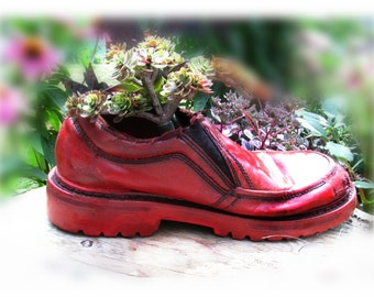 Succulent planter - flower planter - outdoor planter ,  Shoe planter -   Garden decor- small planter -  # 6