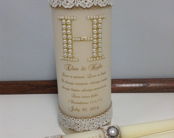 rustic unity candle set with pearls love is patient verse
