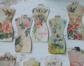 Mannequin notecards - floral notecards - floral mannequin - blank notecards - embellishments