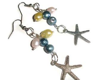 Starfish Earrings pearl Starfish Earrings starfish dangle OOAK nautical earrings ocean sea pearl earrings long disabled woman owned shop