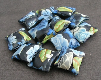Winterflower Blue Beads, Navy Blue, Polymer Clay Pillow Bead Dozen, 12 Pieces - Made to Order