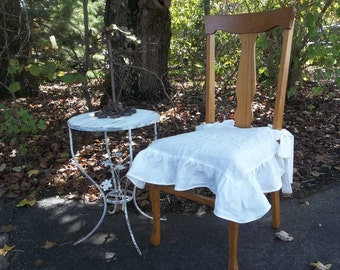 Ruffled Linen Chair Slipcover Ruffled Chair Cover in Custom Fabrics Custom Sizes Available