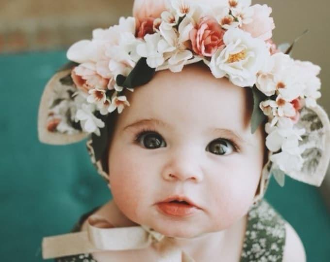 Featured listing image: Flower Crown Bonnet with ears, Fawn Floral Bonnet, Baby Bonnet, Baby Flower Bonnet, Baby Photo Prop, Sitter Bonnet, Easter Bonnet,