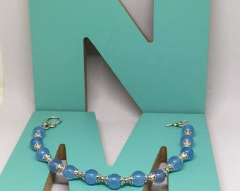 Blue Chalcedony Beaded Bracelet