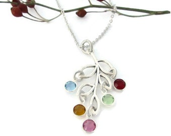 Personalized Mother's Birthstone Leaf Necklace | Family Tree | Mom Jewelry | Grandmother | Nana | Grandmother | Mother's Day Gift | For Her