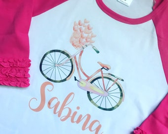 Personalized Vintage Watercolor Bicycle Shirt