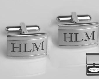 Personalized Cufflinks, Engraved Cufflinks, Silver Cufflinks, Groomsmen Gift, Wedding Favor, Gift For Men, Engraved Free, Buy 6 Get 7th Free