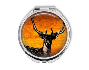 Stag Deer Compact Mirror Pocket Mirror Large Gifts for her