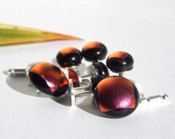 Tuxedo Stud and Cufflink Set - 925 Sterling Silver Formal Shirt Stud and Cuff Link Set - Plum Dichroic Fused Glass Cufflinks and Shirt Stud