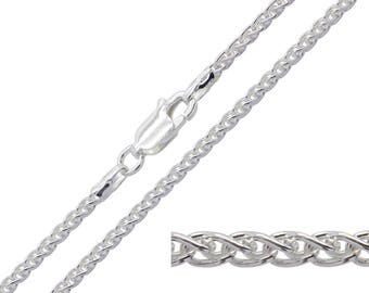 925 Sterling Silver Spiga Wheat 1.8mm Chain Necklace 16 18 20 22 24 26 28 30 inches