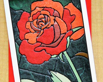 Rose Card- Greeting Card- Small Card- Any Occasion- Blank Card- Mosaic Art- Goth Card- Lovers card- Valentines Day Card- Anniversary Card