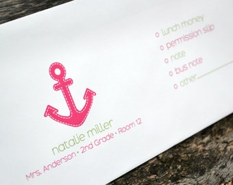 Personalized School Money Envelope for Money and Notes - Pink Anchor Design - Personalized School Envelopes