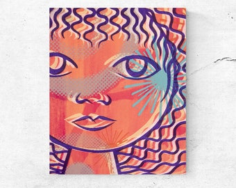 Portrait print modern art home decor modern wall art apartments decor feminine contemporary colourful canvas female art print on canvas